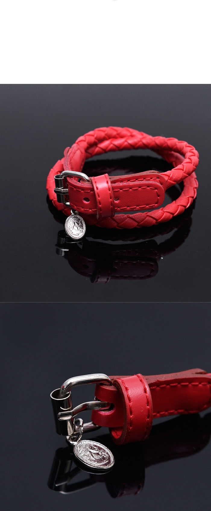 Accessories Bracelets Double Coil Leather Braided