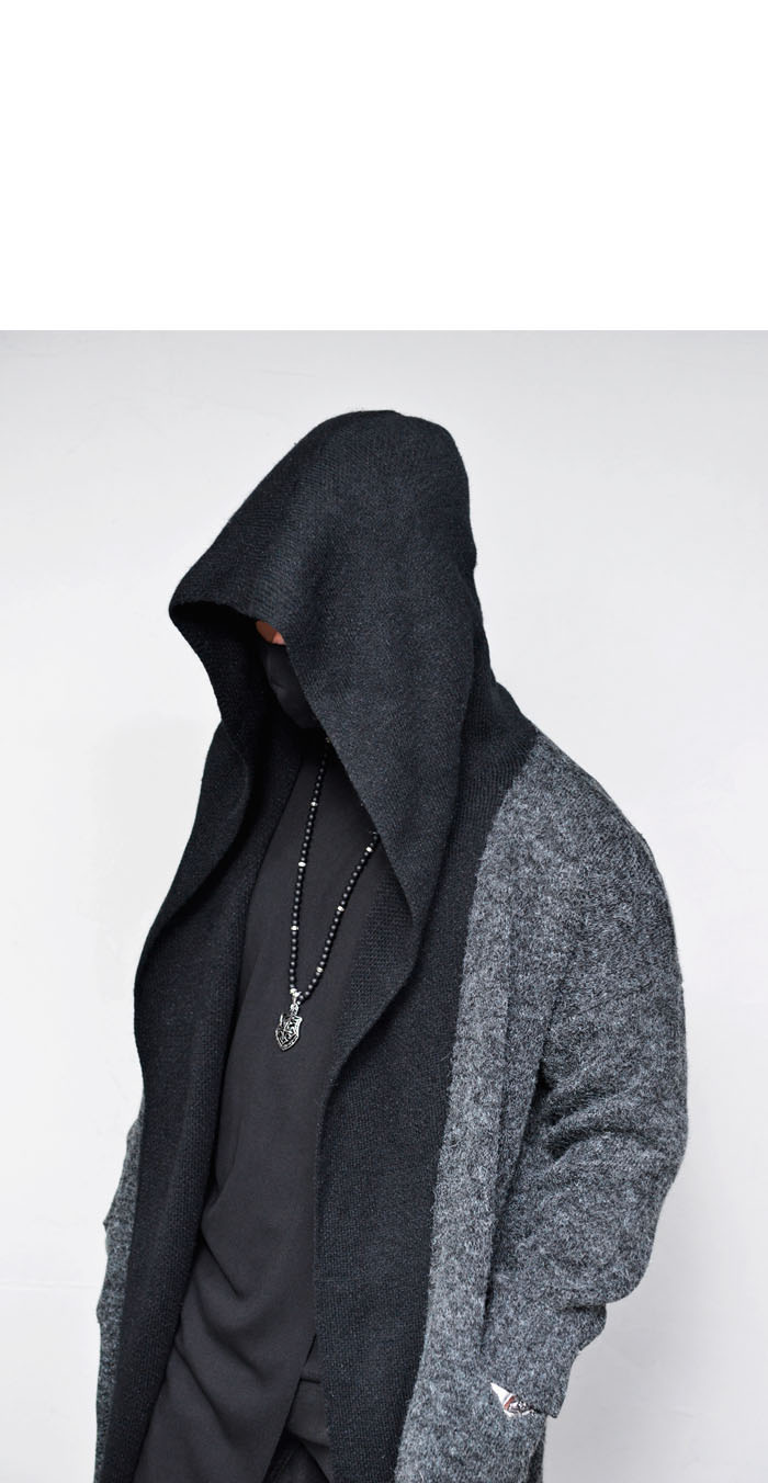 Outerwear :: Cardigans :: Contrast Hooded Wool Long-Cardigan 208 ...