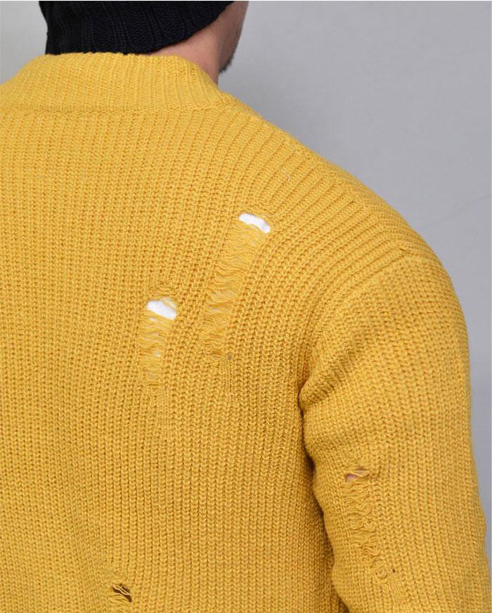 Outerwear Cardigans Damaged Mustard Sweater Jacket