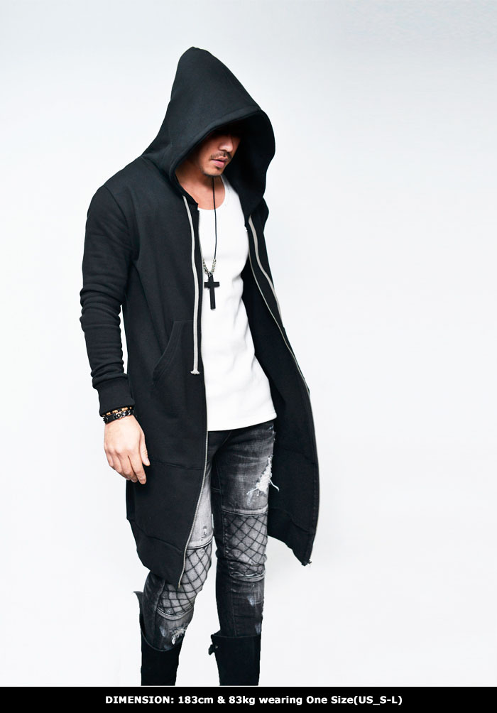 Tops :: Hoodies :: Long Hood Zip Up Jacket-Hoodie 157 - GUYLOOK ...