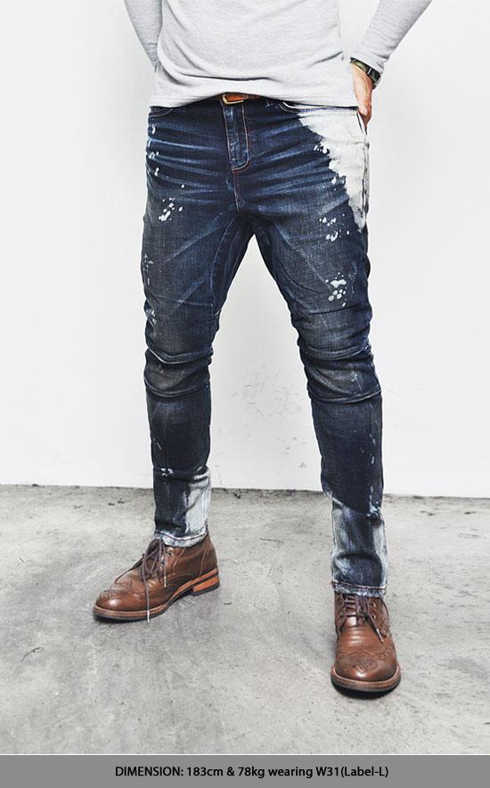 artistic paint vintage distress damaged mens slim semi baggy jeans by guylook ebay. Black Bedroom Furniture Sets. Home Design Ideas