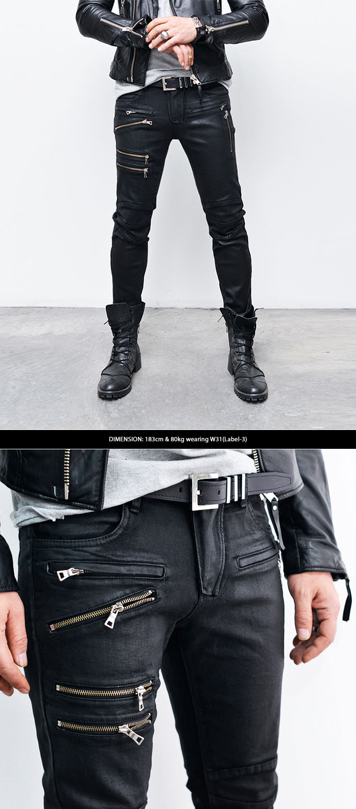 Black Wax Denim Jeans Men