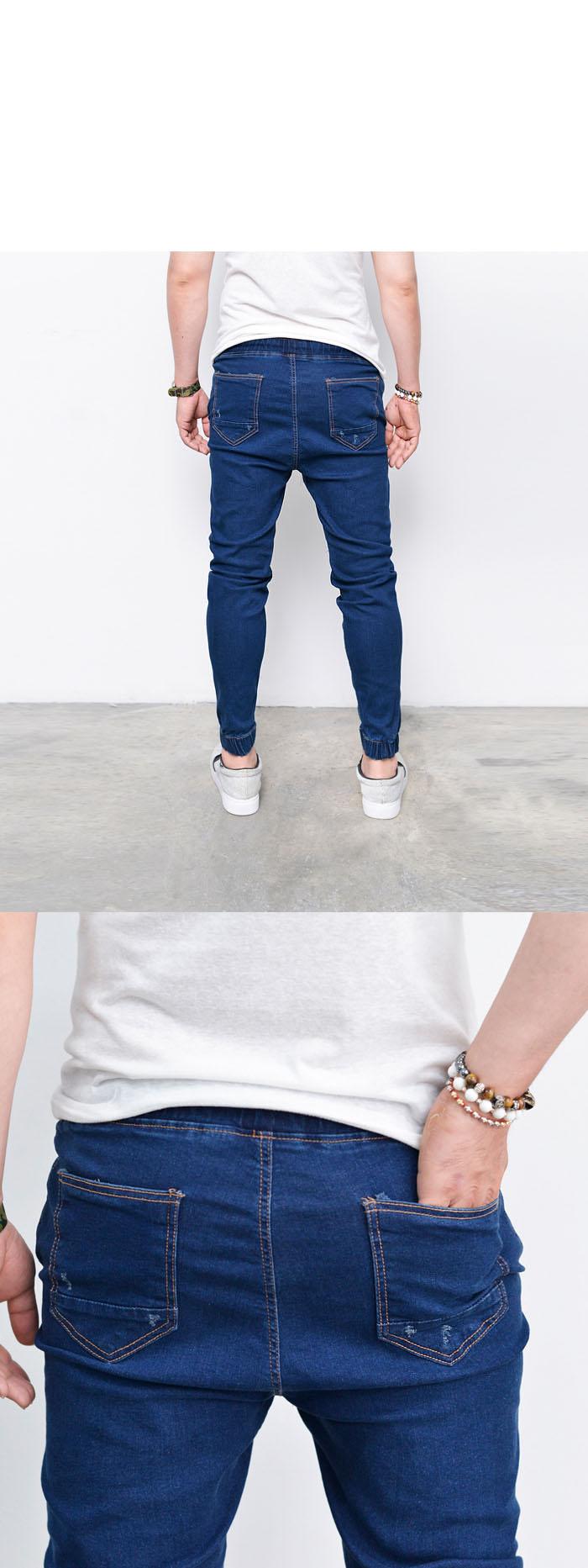 korea fashion slim semi baggy mens denim cuffed jogger pants sweatpants guylook ebay. Black Bedroom Furniture Sets. Home Design Ideas
