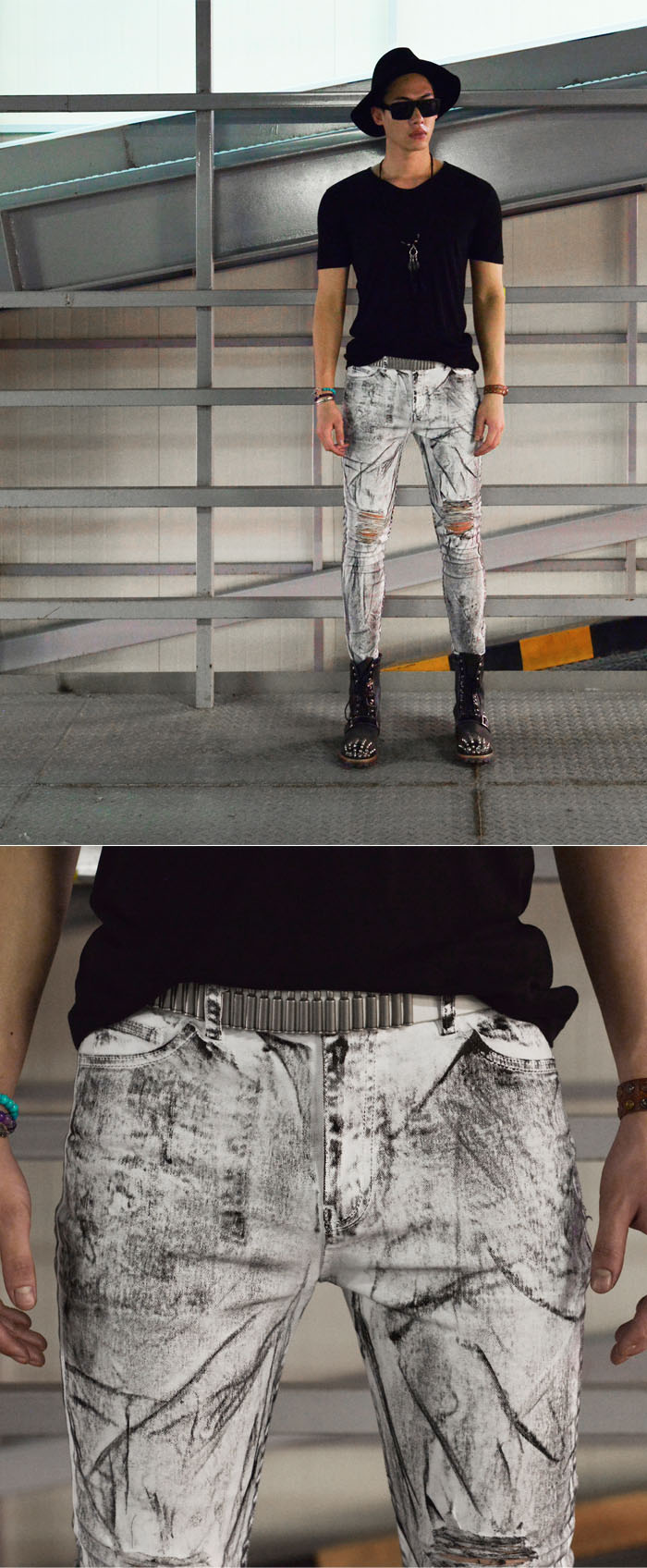 Sales Bottoms Hardcore Oil Paint Damage Skinny Jeans