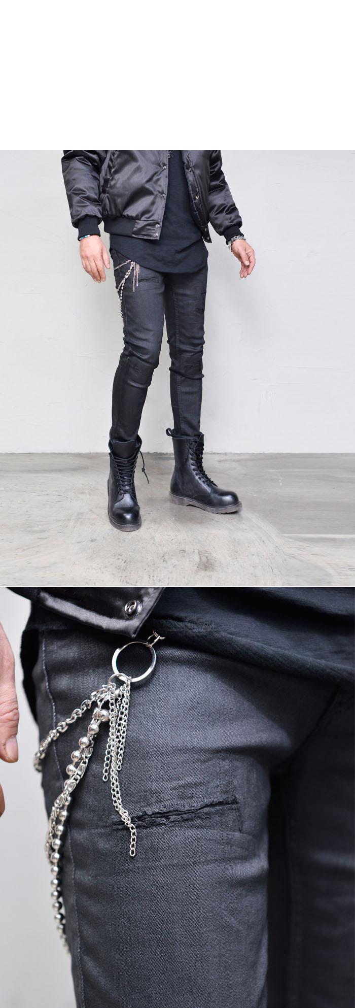 Bottoms Jeans Coating Knife Cut Damage Black Jeans
