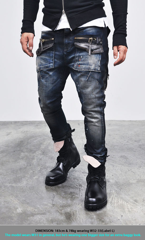 Mens Edge Zippered Cargo Baggy Skinny-Jeans 93  Fast Fashion Mens