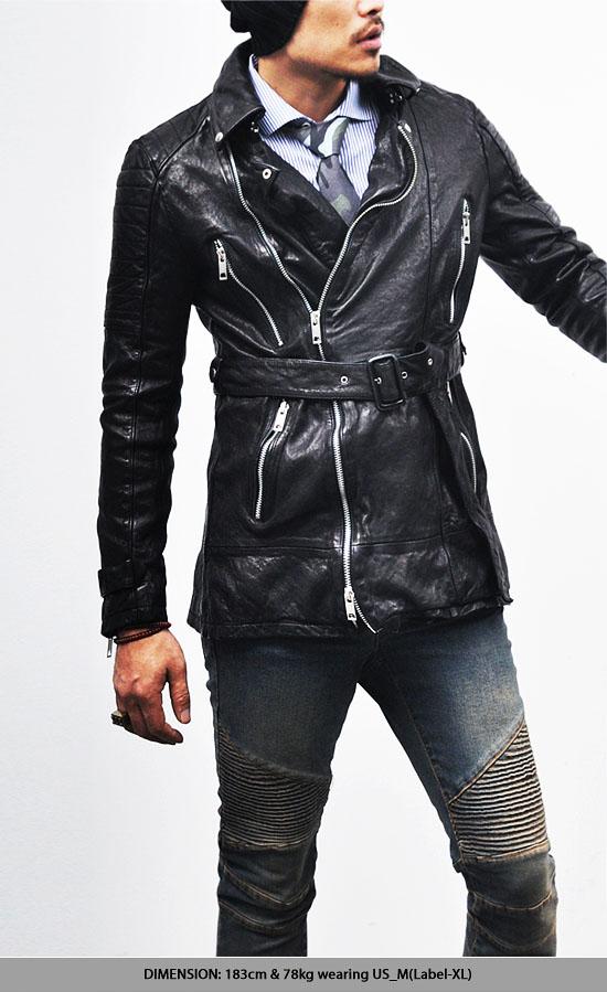 Outerwear :: Leather Jackets :: Belted Crinkle Lambskin Biker Coat