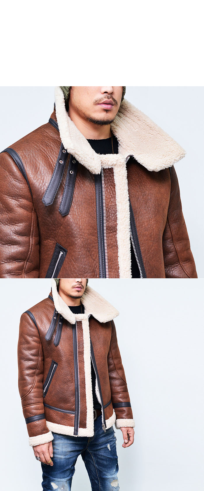 Designer Mens Highneck Belt Faux Leather Shearling Aviator ...