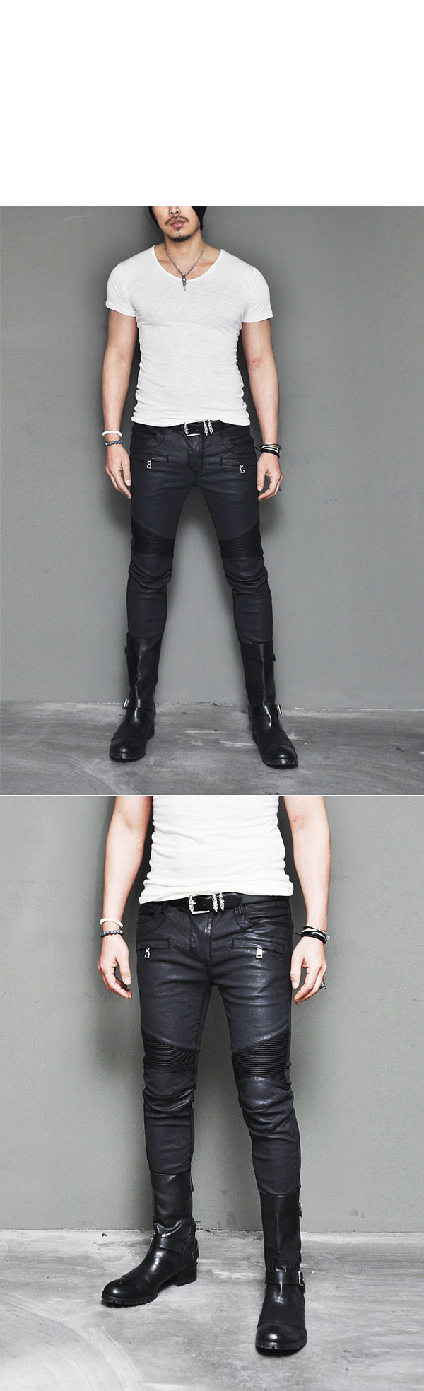 7fcdf4008b0 Mens Best Ever Wax Coated Leather Seaming Skinny Biker-Pants 109 ...