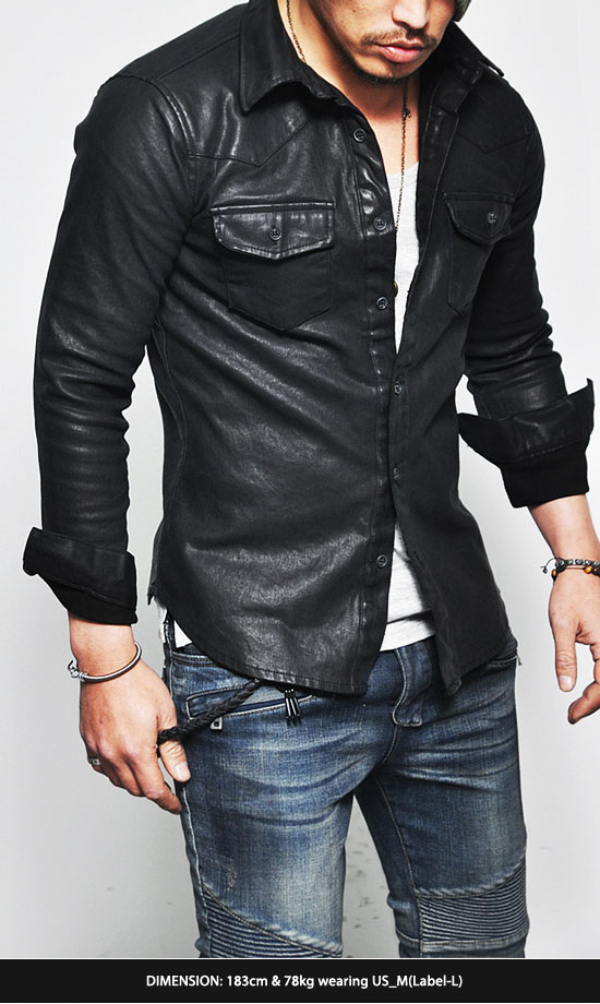 Masculine edge design stretchy mens black faux leather for Mens white leather shirt