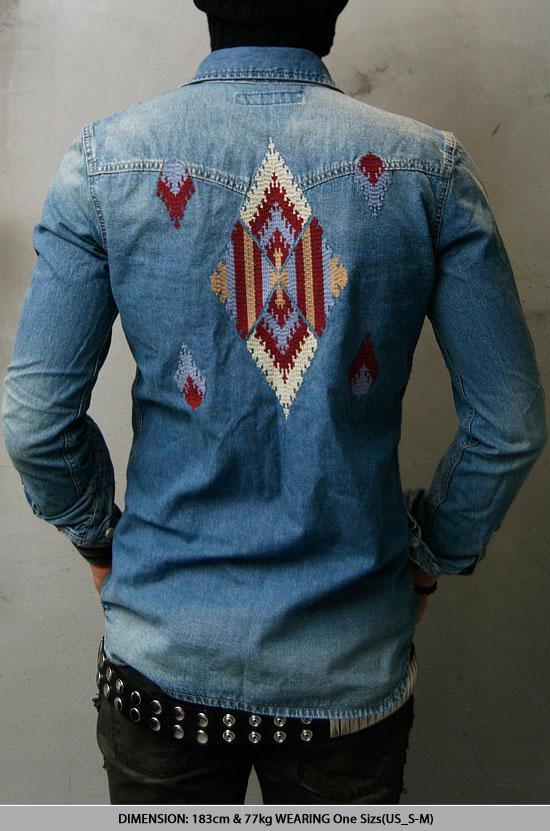 Embroidery vtg denim western shirt fast fashion