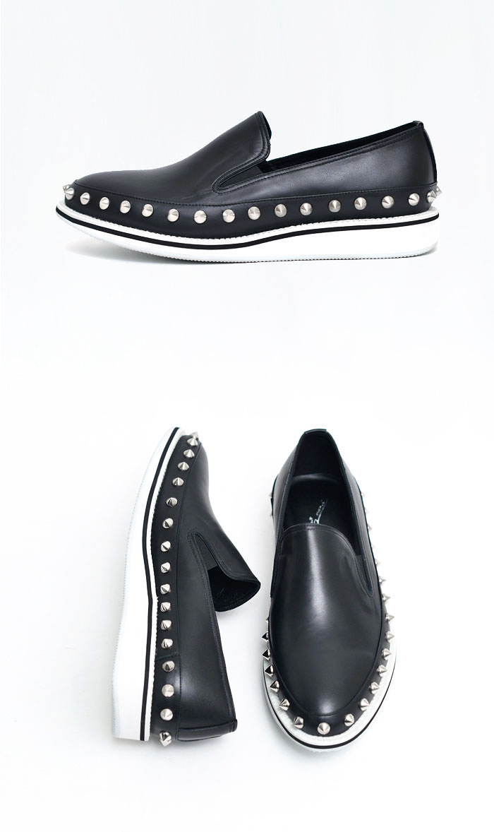 Shoes :: Pointy Silver Stud White Sole Slipon-Shoes 447 ...