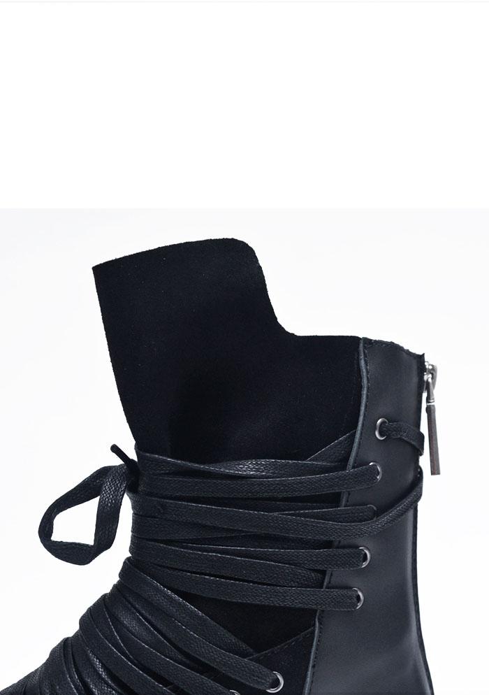 Shoes Super Long Lace Back Zip Leather High Shoes 503