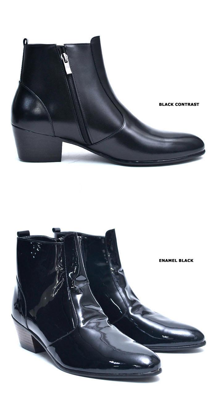 5cm height increasing heel mens custom black zipper ankle