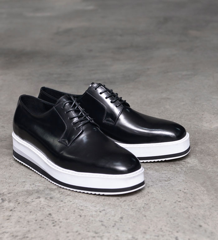 mens solid black leather lace up oxford white sole