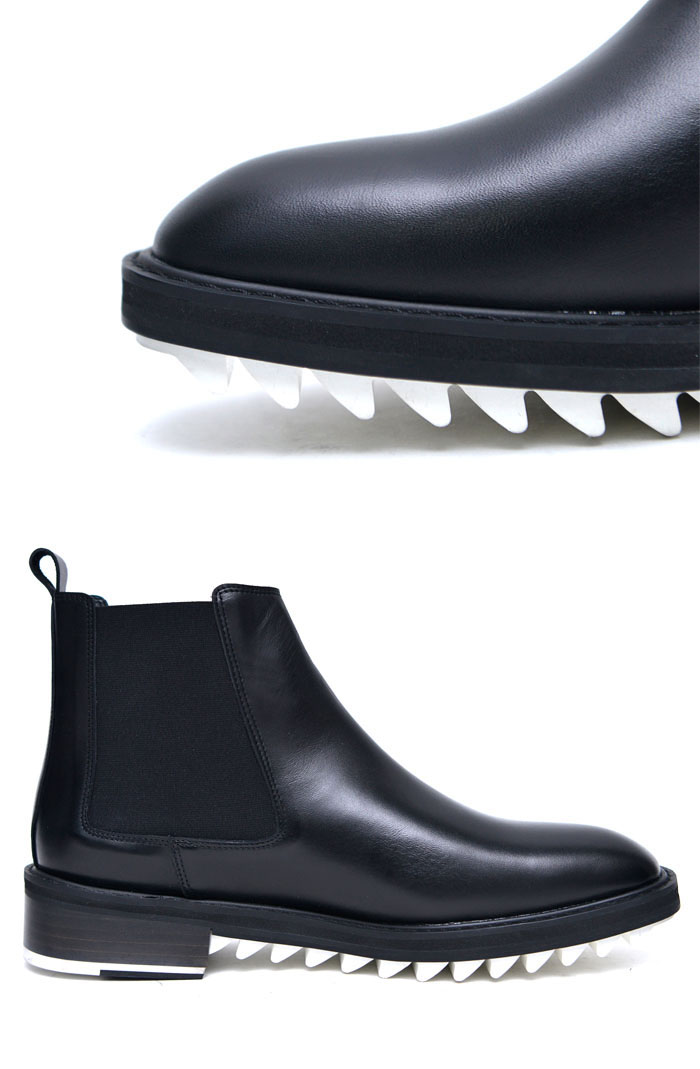 white shark teeth sole mens black banding leather chelsea